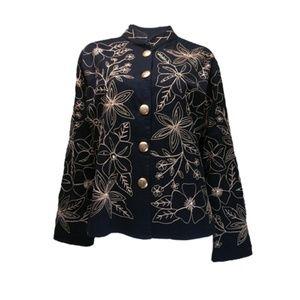 Women's Black Embroidered Jacket Blazer #283